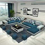 JINPENGRAN Wohnzimmer Sofa-Sofa-Fashion Fabric Sofa-Combination Set-Cafe Hotel Möbel-Simple Leisure Sofa,Darkblue