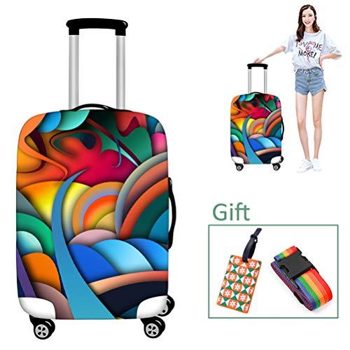 Luggage cover Kofferhülle Waschbar Reisegepäck Abdeckung Farbdruck kein Verblassen Koffer Schutz passt 18-28 Zoll Gepäck,S - Dehnbare Abdeckung Koffer
