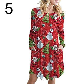 litty089 Otoño Invierno Adorno para Mujeres, Muñeco de Nieve Diseño de Alce de Papá Noel Cuello O Manga Larga, A-Line Midi Vestido con Bolsillo, Decoración para Fiesta de Navidad Disfraz