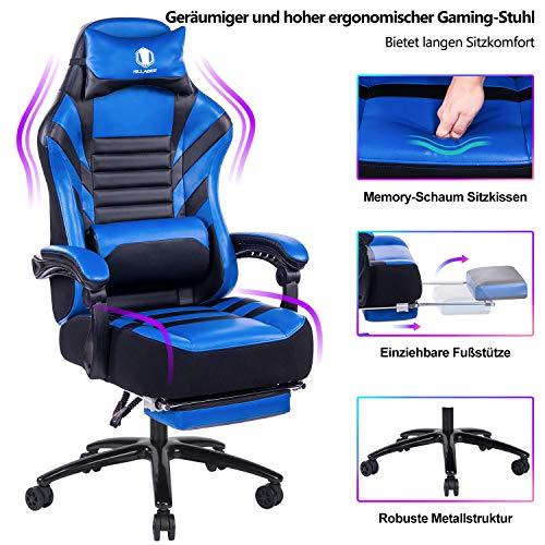 KILLABEE großer Memory Foam Gaming Stuhl - Einziehbare Fußstütze und verstellbare Rückenlehne Ergonomische aus Leder Exklusiver Computer-Schreibtisch Bürostuhl mit Metallsockel