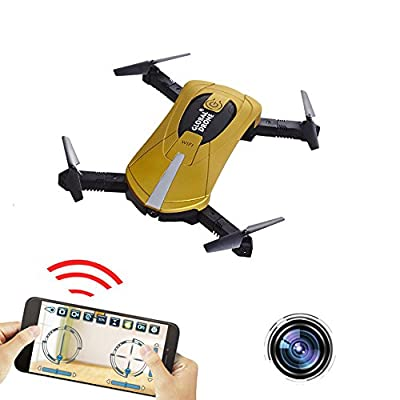 FPV RC Drone with 720P HD Wifi Camera ,Mini Pocket Drone with 2.4GHz 4CH 6-Axis Gyro, App WiFi Phone Control RC Quadcopter with Altitude Hold, Gravity Sensor and Headless Mode