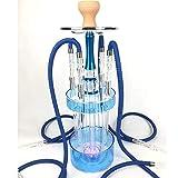 Mr. Long Narghilè Shisha Arabo Sheesha Colonna d'Acqua in Acrilico con Lampada a Quattro vasi con Luce a LED