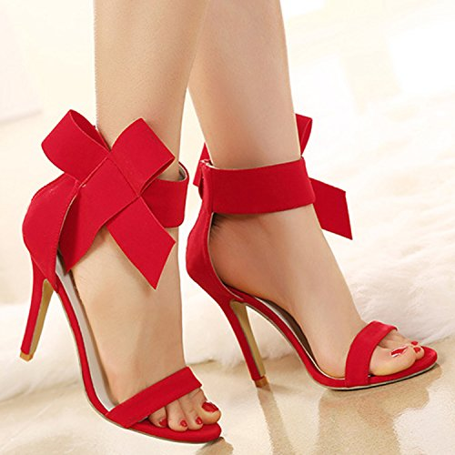 Oasap Women's Peep Toe High Heels Ankle Bow Sandals red