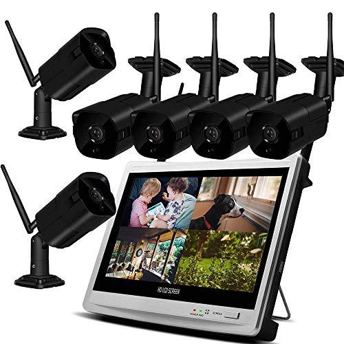 XINCH-MONITOR 1080p-HD-Ausgabe NVR CCTV-Sicherheitssystem WiFi Video Surveillance Kit Recorder Wireless-LCD-Monitor im Freien Wohnen + 2TB Festplatte Datenträger (2/4/6/8 CH) - Motorola Surveillance Kit