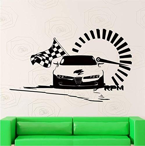 Qthxqa Auto Kunst Überprüft Flagge Wandtattoos Nascar Speed   Racing Art Vinyl  Home Decor Mode-Stil Dekor Aufkleber 85 * 45 Cm