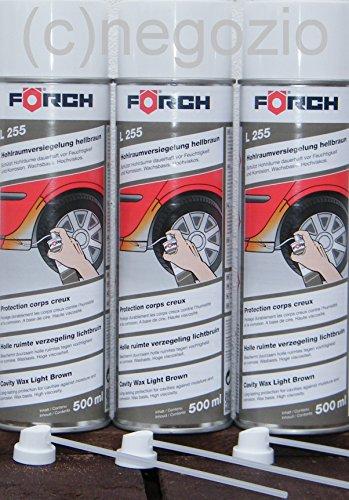 HOHLRAUMVERSIEGELUNG Profi Sparpack ! 3 x 500ml Förch Wachs-Spray L255, hellbraun ,hochviskos, + 3 Hohlraumsonden 15cm (Spray-auto-wachs)