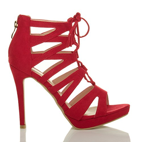Damen Hoher Absatz Plateau Schnüren Reimchen Peep Toe Sandalen Pump Schuhe Größe Rot Wildleder