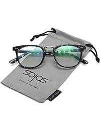 SOJOS Brille Damen Nerdbrille Wechselgläser Vintage Pantobrille Silikone Nasenpolster SJ5013 mit Schwarz Silber Rahmen JqXiDENl
