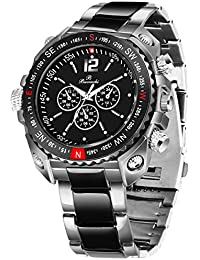 Buccachi Round Chronograph Black Dial Water Resistant Stainless Steel Bracelet Watch for Men/Boy's (B-G5075-BK-BC)