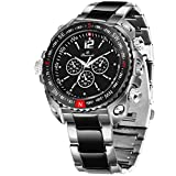 Buccachi Round Chronograph Black Dial Water Resistant Stainless Steel Bracelet Watch for Men/Boy's
