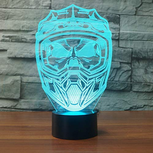 Maschera Casco moto 3D Led Night Light Lampada da tavolo USB creativa 7 colori che cambiano Sleep Lighting Home Decor Light Fixture Gift