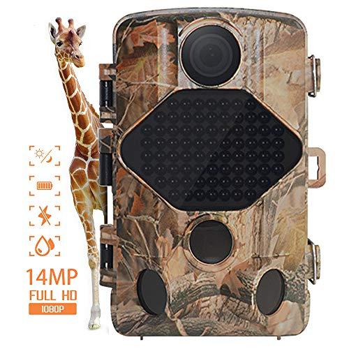 Digitale Nachlaufkamera,IP66 Wasserdicht 14MP 1080P Wildlife Trail-Kamera mit 120° Weitwinkel-Jagdkamera 0.3s Auslöser Geschwindigkeit Nachtversion Spielkamera für Wildlife Monitoring&Home Security