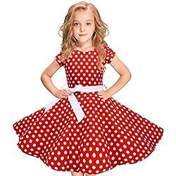 Darringls Vestido para niñas, Vestido Vintage Retro Estampado para Niñas Vestido de Lunares Clásico A-Línea con Bowknot para Fiesta Casual