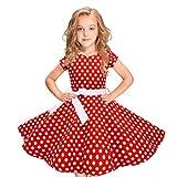 FRAUIT-Kinder/Mädchen Kleid Audrey Vintage Polka Dots Kleid im 50er-Jahre-Stil Prinzessin Swing Rockabilly Party Kleider