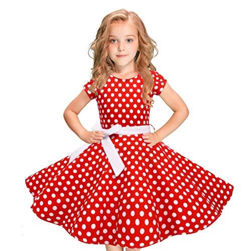 dkleid Vintage Kleid Party Kleid Kostüme Kleider Swing Rockabilly Kleider mit Halskette Größe 6-12 Jahre Kindergarten Uniform(3-Rot,110) ()