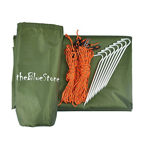 517TowqCr6L. SS500  - theBlueStone 3m x 3m - Waterproof, Lightweight,Ripstop Compact & Strong Green Tarpaulin for Camping
