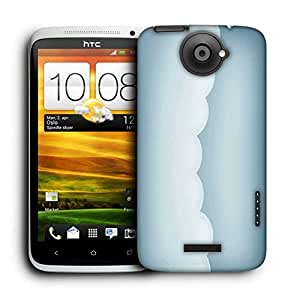 Snoogg White Clouds Printed Protective Phone Back Case Cover For HTC One X