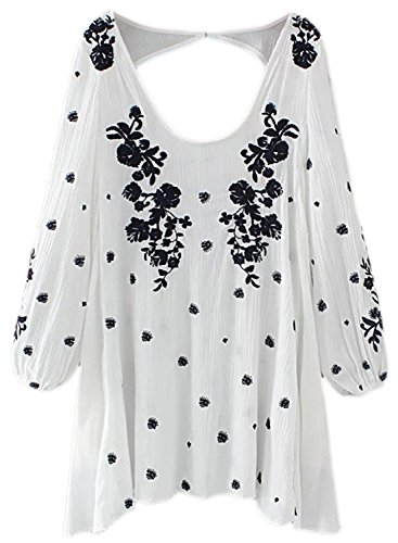 Azbro Women's Back Cut out Mini Floral Embroidered Dress white
