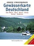 Gewässerkarte Deutschland Süd. Rhein, Main, Mosel, Donau, Neckar, Bodensee.