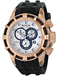 Invicta Herren-Armbanduhr Invicta Bolt - 15776- Men's Watch - Chronograph - Grey Dial - Rose Gold plated stainless steel case - PU strap Chronograph Silikon Schwarz 15776