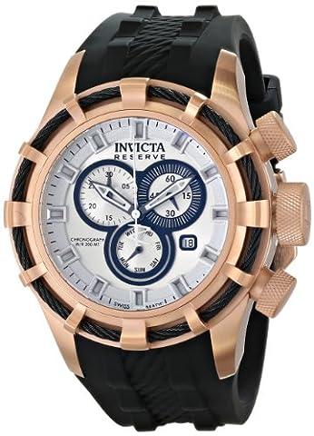 Invicta Herren-Armbanduhr Invicta Bolt - 15776- Men's Watch - Chronograph - Grey Dial - Rose Gold plated stainless steel case - PU strap Chronograph Silikon Schwarz 15776