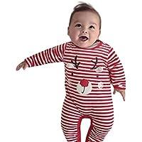 Overall Baby Winter Weihnachten Neugeborene Kleidung Hirolan Todder Kinder Hirsch Drucken Jungen Mädchen Overall Rot Outfits Kleider Unisex Streifen Strampler 0-24 Monate