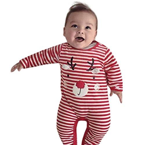 Overall Baby Winter Weihnachten Neugeborene Kleidung Hirolan Todder Kinder Hirsch Drucken Jungen Mädchen Overall Rot Outfits Kleider Unisex Streifen Strampler 0-24 Monate (70, Rot) (Für Jungen Weihnachten Anzüge)