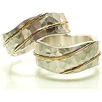 Wellenringe aus Sterlingsilber mit Gelbgold, massiv, opulent, individuell - handgeschmiedet by SILVERLOUNGE