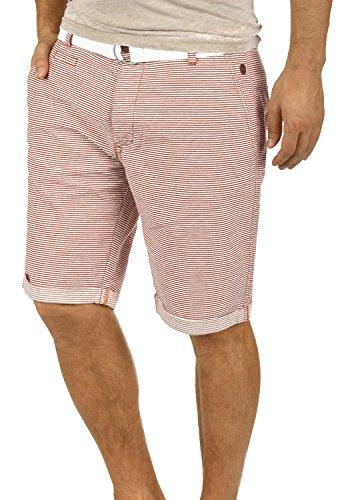 Blend Quantigo Herren Chino Shorts Bermuda Kurze Hose Mit Gürtel Und Streifen-Muster Aus 100% Baumwolle Regular Fit, Größe:XL, Farbe:Wine Red - China Farben