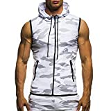VEMOW Herren Sommer Casual Camouflage Print mit Kapuze ärmellose T-Shirt Top Weste Bluse(Weiß, EU-52/CN-M)