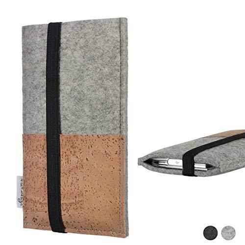 flat.design Handy Hülle Sintra für Energizer P20 Handytasche Filz Tasche Schutz Kartenfach Case Kork