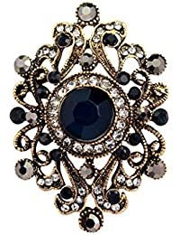 Old Style Vintage Jewelry Classic Diamante Flower Gold Plated Rhinestone Brooches Pins Women Lady