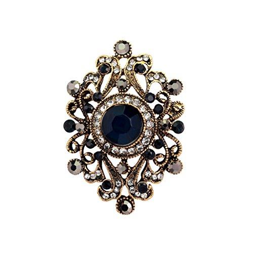 Vintage Blume Strass Brosche Pin Ansteckernadel Sicherheitsnadel Modeschmuck - Blau, Taille Unique