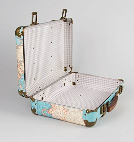 Around The World Vintage Map Hard Suitcase Storage Decoration Wedding Keepsake