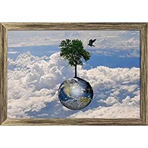 AZ Earth Globe & Lonely Tree With Little Bird Canvas Painting Antique Gold Wood Frame 17.1 x 12inch