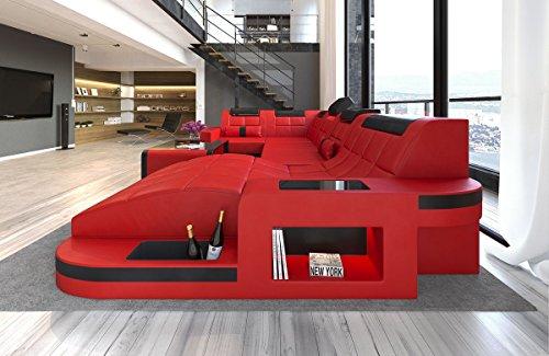 Rot-schwarz-leder-sofa (Sofa Dreams Leder Wohnlandschaft Wave U Form rot-schwarz)