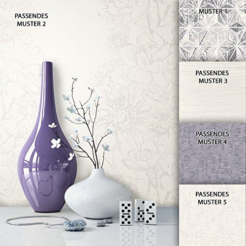 Preisvergleich Produktbild NEWROOM Tapete Grau Blumen Modern Vliestapete Creme, Weiß Vlies moderne Design Optik Tapete Floral inkl. Tapezier Ratgeber