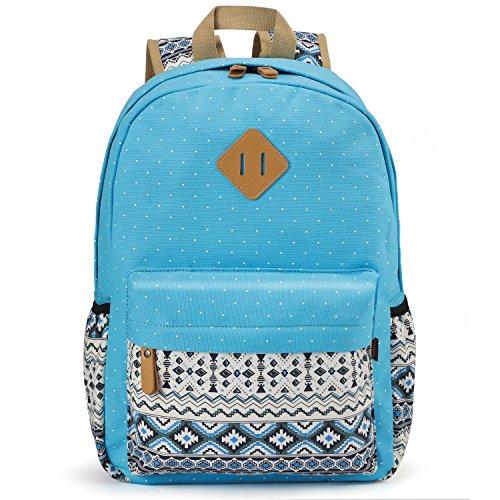 Plambag - Sac à dos Sac toile Sac d'école Sac porté épaule multi-fonction Pour Voyages scolaire loisirs (Bleu Ciel)