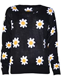 (womens black daisy print jumper) (mtc) femmes noir marguerite cavalier