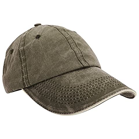 Result Washed Fine Line Cotton Baseball Cap With Sandwich Peak (One Size) (Olive/Stone)