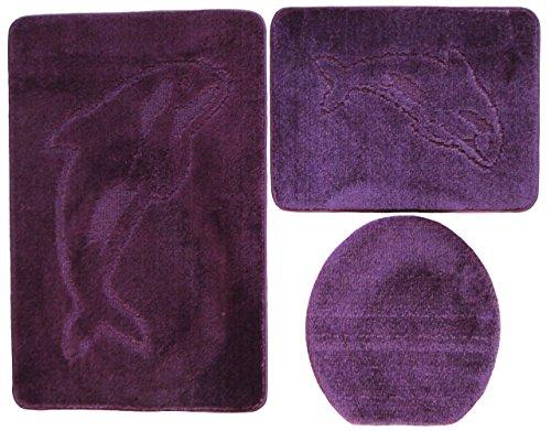 Delphin Badgarnitur 3 tlg. Set 55x85 cm beere lila WC Vorleger ohne Ausschnitt für Hänge-WC