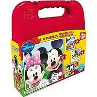 Educa Borrás Disney - Maleta con Puzzles progresivos Mickey Mouse, 12-16-20-25 16505.0 - Peluches y Puzzles precios baratos