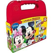 Disney - Maleta con puzzles progresivos Mickey Mouse, 12-16-20-25 (Educa Borrás 16505.0)