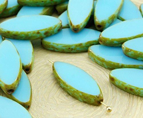 6pcs Picasso Brun Opaque Turquoise Bleu Bébé Ovale et Plate de Pétales de Table à la Fenêtre de Coupe tchèque Perles de Verre 18mm x 7mm