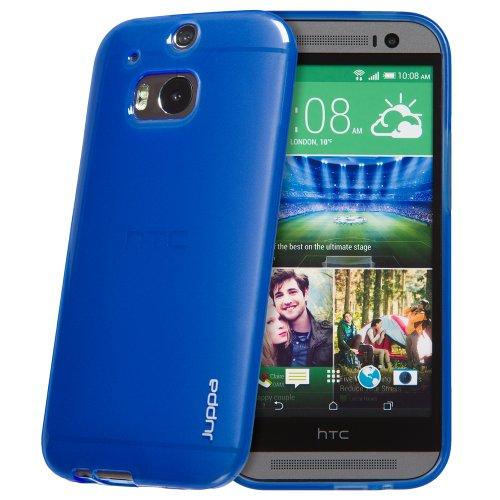Juppa® HTC One M8 (2014) TPU Silikon Tasche Hülle Schutzhülle mit LCD displayschutzfolie und Mikro-Reinigungstuch (Schwarz / Black) Blau / Blue