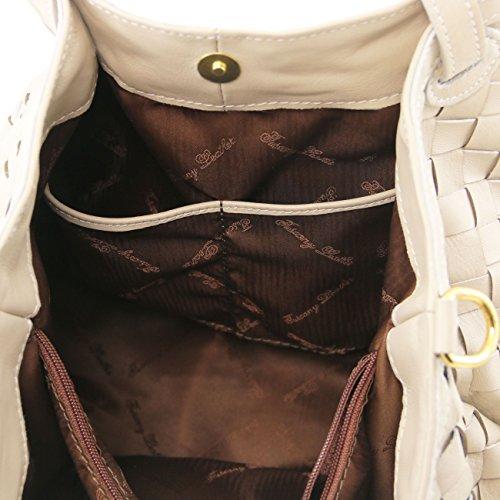 Tuscany Leather TL KeyLuck - Sac shopping en cuir tressé à main - Grand modèle Cognac Sacs à bandoulière en cuir Noir