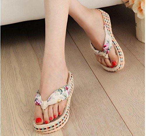 Transer ® Fashion femmes pantoufles plateforme plage occasionnels tongs Beige