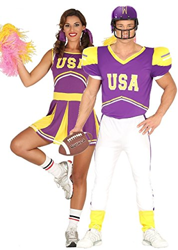 Couples USA Purple Cheerleader and American Football Player Costumes