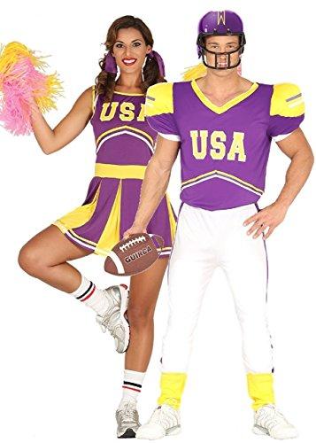 Fancy Me Paar Damen und Herren USA Cheerleader Quarterback American Football Kostüm Verkleidung Outfit - UK 8-10 - Mens Medium