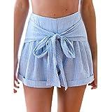 Femmes Short Taille Haute,OverDose Rayé Short Plissé Avec Lien à ...
